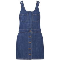 Dorothy Perkins **Only Denim Pinafore Dress ($75) ❤ liked on Polyvore featuring dresses, blue, denim dresses, blue pinafore dress, pinafore dress, dorothy perkins dress and dorothy perkins