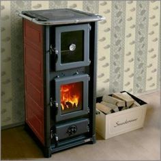 Can a wood stove be adorable? olympia-wood-stove-with-oven Tiny Spaces, Tiny House Living, Small Space Living, Little Houses, Just In Case, House Plans, New Homes, Olympia, House Design