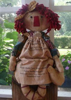 Primitive Raggedy Ann Annie Chicken Doll by ahlcoopedup on Etsy, $29.95