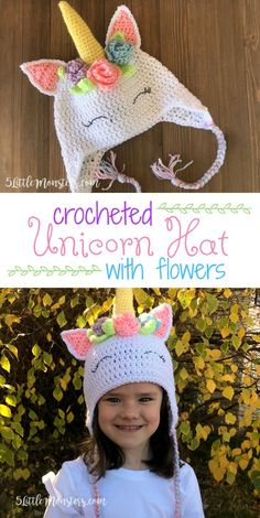 Crochet Baby Hats A free pattern for an adorable crocheted unicorn hat with flowers and leaves surrounding the horn. - A free pattern for an adorable crocheted unicorn hat with flowers and leaves surrounding the horn. Crochet Unicorn Hat, Crochet Flower Hat, Crochet Baby Hats, Crochet Beanie, Crochet Gifts, Crochet For Kids, Crochet Clothes, Free Crochet, Knitted Hats