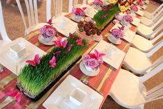 wheatgrass and butterflies. Easter centerpiece ideas
