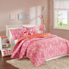 Pink & Orange Butterfly Reversible Cotton Coverlet Quilt Set AND Decorative Pill #INKIVYKids