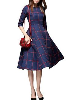 Plaid Pattern High Waist Navy Blue Pocket Dress on sale only US$32.06 now, buy cheap Plaid Pattern High Waist Navy Blue Pocket Dress at lulugal.com