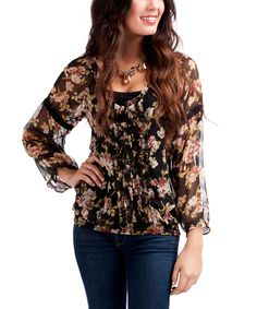 Love this Rancho Estancia Brown & Pink Floral Layla Peasant Top by Rancho Estancia on #zulily! #zulilyfinds