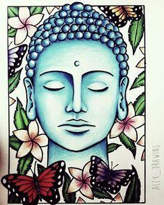 Turquoise Buddha Illustration Butterfly Plumeria Hawaiian Flower by Alexandra Frances. Buddha Kunst, Buddha Zen, Buddha Face, Gautama Buddha, Buddha Artwork, Buddha Painting, Buddha Tattoos, Buddha Drawing, Madhubani Painting