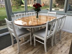 Upcycled pine dining table and chairs using Annie Sloan original chalk paint and polyurethane on the sanded top. Pine Table And Chairs, Country Dining Tables, Pine Dining Table, Mahogany Dining Table, Dinning Room Tables, Wood Table, Dining Rooms, Dining Table Upcycle, Dining Table Makeover