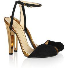 Gucci Metallic leather and suede sandals ($835) ❤ liked on Polyvore featuring shoes, sandals, heels, gucci, sapatos, platform sandals, high heel platform sandals, leather strap sandals, strappy sandals and black platform sandals