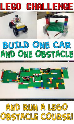 Lego Challenge–Car Obstacle Course – The Lego Librarian - Lego Ideen Lego Club, Stem Projects, Lego Projects, School Projects, Lego Therapy, Lego Activities, Easter Activities, Indoor Activities, Educational Activities