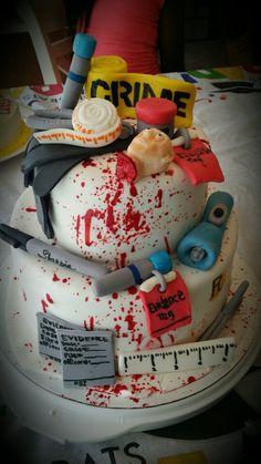 Forensic Science blood splatter cake.