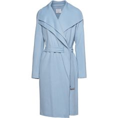 VINCE Face Drape Neck Light Blue // Wool mix coat with double collar (750 CAD) ❤ liked on Polyvore featuring outerwear, coats, jackets, coats & jackets, casacos, asymmetrical collar coat, blue coat, vince coat, collar coat and asymmetrical coat