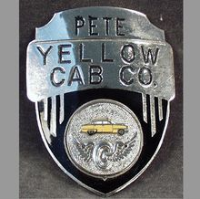 Old, Yellow Cab Drivers Hat Badge - Pete