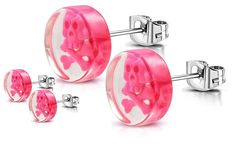 Stainless Steel With Clear Acrylic Pink Skull Round Stud Earrings One Pair Pink Skull, Steel Jewelry, Clear Acrylic, Mystic, Stud Earrings, Stainless Steel, Pairs, Earrings, Ear Gauge Plugs