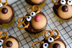 Reindeer cupcakes:  Chocolate cupcakes, Chocolate frosting,Nilla wafers,M,Pretzels  White frosting