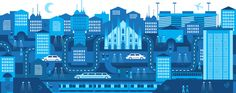 milano illustration / alberto antoniazzi x City Collage, City Illustration, New York Skyline, Google, Graphic Design, Portrait, Street, Drawings, Travel