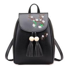 Ladies Elegant Quality PU Leather Floral Tassel Backpack 2 Colors