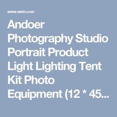 Andoer Photography Studio Portrait Product Light Lighting Tent Kit Photo Equipment (12 * 45W Bulb + 3 * 4in1 Bulb Socket + 3 * Softbox + 3 * Light Stand + 1 * Carrying Bag) (Size: US Plus)