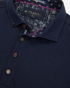 Woven collar polo shirt - Navy | Tops & T-shirts | Ted Baker UK