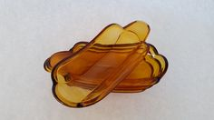 Vintage Indiana Glass Amber Banana Boat/Split Dishes SET of 4 by ForMyTribe on Etsy