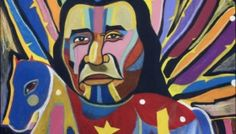 """""""Nanekawasis Rides Horse"""", George Littlechild, Mixed media on paper, 30"""" x 22"""", 2011. Canadian First Nations Artist"""
