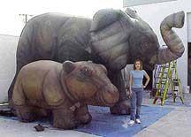 2 Safari Animal Inflatable Elephant Kangaroo Kids Toys Home Display Garden Fun