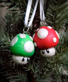 Mario Mushroom Christmas Ornament - Polymer Clay.
