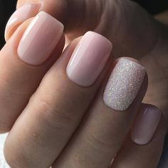 pink nails with glitter accent . pink nails with rhinestones . pink nails with glitter Cute Acrylic Nails, Cute Nails, Pink Shellac Nails, Gold Nails, Silver And Pink Nails, Pink Wedding Nails, Baby Pink Nails With Glitter, Short Pink Nails, Blush Pink Nails
