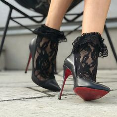 "Team Louboutin (@teamlouboutin) on Instagram: "" Pumps and socks? @upcloseandstylish #TeamLouboutin"" #heelsinstagram"