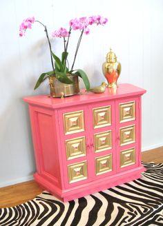 Vintage Hot Pink Gold Leaf CREDENZA Cabinet