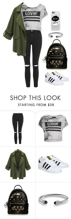 """Casual Outfit For School"" by emmygarcia77 on Polyvore featuring Topshop, Religion Clothing, Chicnova Fashion, adidas, David Yurman, Casetify, women's clothing, women's fashion, women and female"