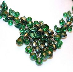 West Germany 1950s Green Lucite Floral & Leaf Design Beaded Necklace from cosmocollection on Ruby Lane