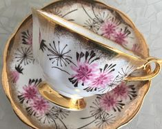 Royal Albert Teacup And Saucer, stunnning with pink flowers and gold gilt border, Vinatge teacup, Mother's Day Gift