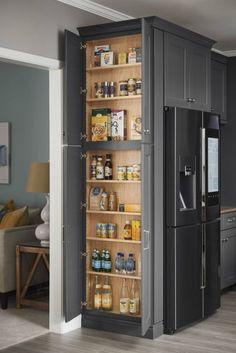 Storage side of fridge Storage side of fridge Kitchen Pantry Design, Kitchen Redo, Modern Kitchen Design, Home Decor Kitchen, Interior Design Kitchen, Kitchen Furniture, Home Kitchens, Kitchen Remodel, Tall Kitchen Pantry Cabinet