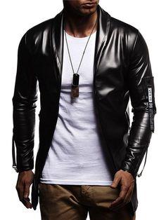 Lapel Leather Standard Jacket Fall Slim Plain 4fqIxdqw1