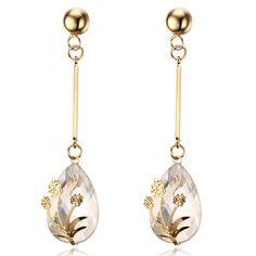 Pair of Flower and Crystal Teardrop Pendant Earrings