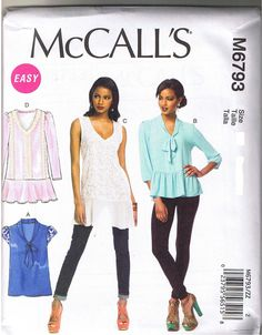 Easy Pullover Flounce Peplum Top Tunic McCalls Sewing Pattern L XL XXL 16 26 | eBay
