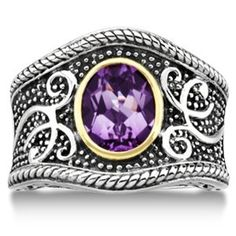 Vintage Amethyst Filigree Ring For Women in 14k Yellow Gold and Sterling Silver (1.36ct)