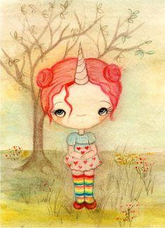 Items similar to Unicorn Print Cute Animal Girl Children's Wall Art on Etsy Unicorns And Mermaids, Childrens Wall Art, Love Illustration, Unicorn Print, Whimsical Art, Pretty Art, Tree Art, Watercolor Art, Fantasy Art