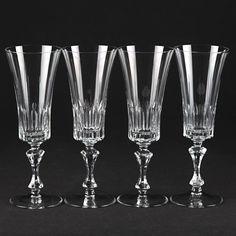 4 edle Vintage Sektgläser Sektkelche Kristall Gläser W1C