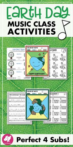 This fun set of Earth Day music activities, worksheets, printables, & board games for kids is great for elementary/gener Teaching Orchestra, Teaching Music, Learning Piano, Music Lesson Plans, Music Lessons, Elementary Music, Elementary Education, Middle School Music, Music Activities