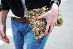 Orange nails + sequins
