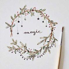 New art journal inspiration ideas doodles fun Ideas Freetime Activities, Karten Diy, Wreath Watercolor, Bullet Journal Inspiration, Journal Ideas, Christmas Art, Christmas Calendar, Beautiful Christmas, Doodle Art