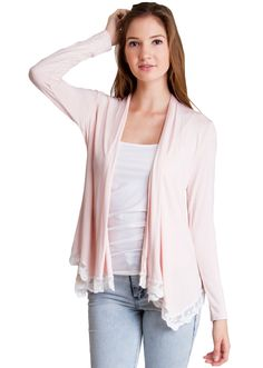 Lace Trim Cardigan T1003BPK, clothing, clothes, womens clothing, jeans, tops, womens dress