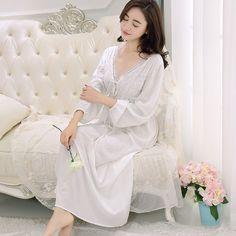 Retro palace Nachthemd weiblich alter V kragen spitze baumwolle langärmelige weißes nachthemd paja mas großhandel