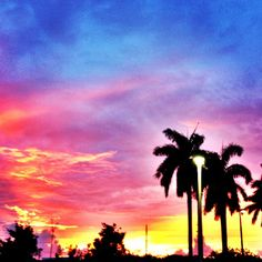 It's a beautiful sunset in Boca Raton! #love #palmtrees #southflorida