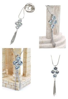 """""""Fashion big circle crystal silver necklace"""" by oceanfashion on Polyvore"""