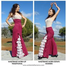 Almost all of our skirt designs come with an extra wide waistband. But it's up to you how you'll wear yours. Flamenco Skirt, Prom Dresses, Formal Dresses, 3, Cosplay, Skirts, Projects, How To Wear, Design