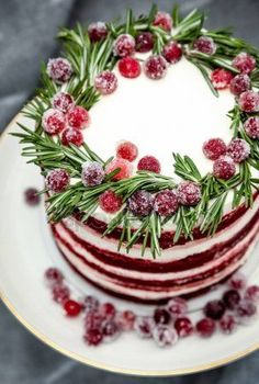 New Easy Cake : Christmas Red Velvet Cake Decorated Sugared Cranberries Rosemary Leaves, Holiday Cakes, Holiday Desserts, Holiday Baking, Holiday Treats, Holiday Recipes, Christmas Sweets, Christmas Cooking, Christmas Goodies, Christmas Cakes