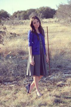 Blue cardigan over gray dress- lovely!