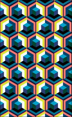 "Fabrish Indaar's ""Straktaar Geksan"" Collection on Behance Cool Patterns, Textures Patterns, Quilt Patterns, Cube Pattern, Hexagon Pattern, Abstract Iphone Wallpaper, Geometric Shapes, Geometric Pattern Design, Math Art"
