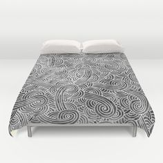 """""""Grey and white arabesques"""" Duvet Cover by Savousepate - $99.00"""